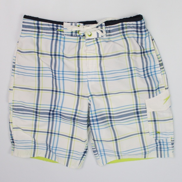 Speedo Other - Speedo swim trunks plaid white blue lime green